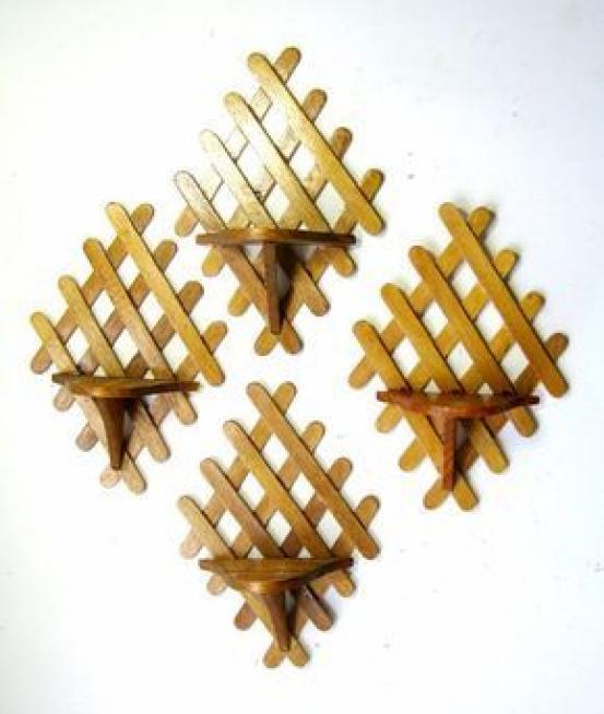 Vintage Popsicle Stick Shelves Four Vintage Folk By Flabbyrabbit Smallwoodcrafts Popsicle Stick Art Craft Stick Crafts Diy Popsicle Stick Crafts