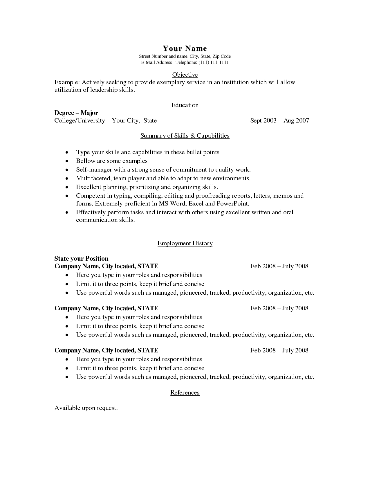 Free Basic Blank Resume Template Resume template simple