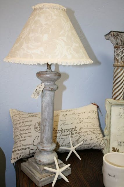 Reloved Rubbish: Whitewashed Lamp with Custom Shade - idea
