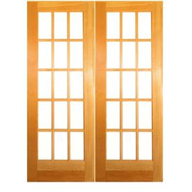 15 Lite French Solid Core Pine Reversible Interior French Door Common 80 In X 60 In Actual Prehung Interior French Doors French Doors Interior French Doors
