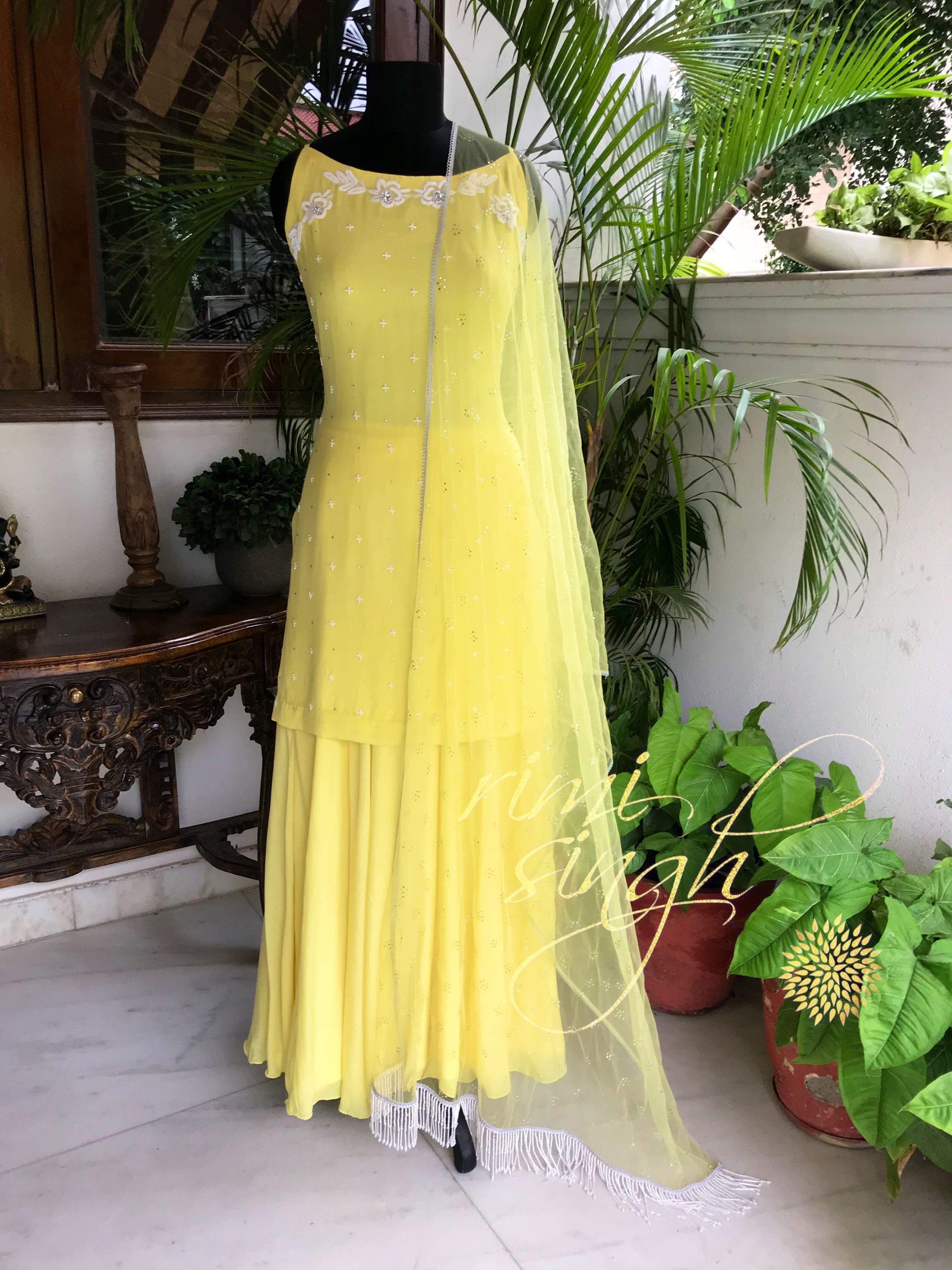 Shine Brightly Lemon Yellow Crepe Sharara And Short Kurta With White Bead And Swarovski Embroidery Indian Fashion Dresses Dress Indian Style Indian Outfits [ 4000 x 3000 Pixel ]