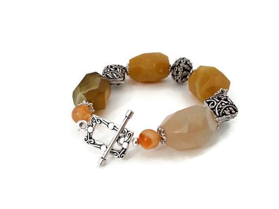 Agate Bracelet  Natural Stone  Sterling by AliceJewelryBoutique