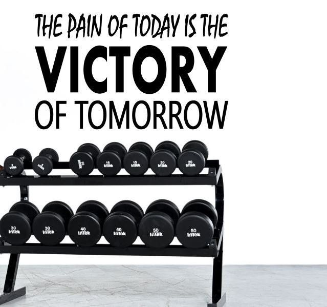 Fitness Motivation Home Gym Wall Decal - The Pain Of Today Is The Victory Of Tomorrow  sc 1 st  Pinterest & Fitness Motivation Home Gym Wall Decal - The Pain Of Today Is The ...