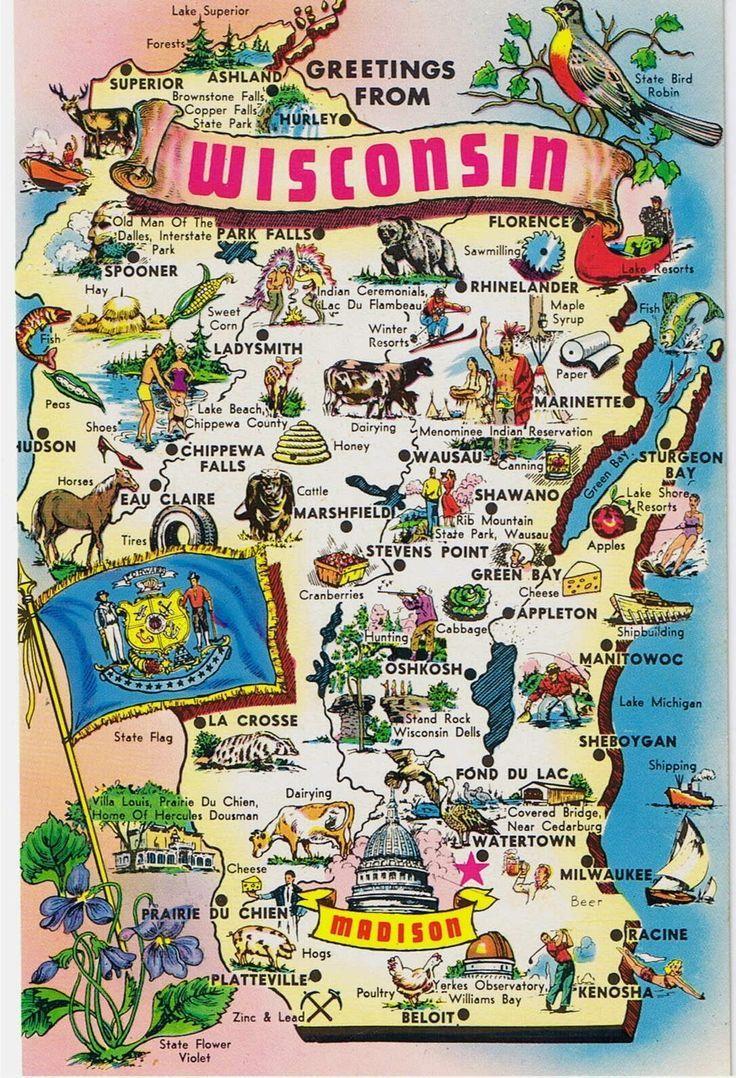 Vintage Postcards - States Maps USA - Wisconsin Map Postcard ...