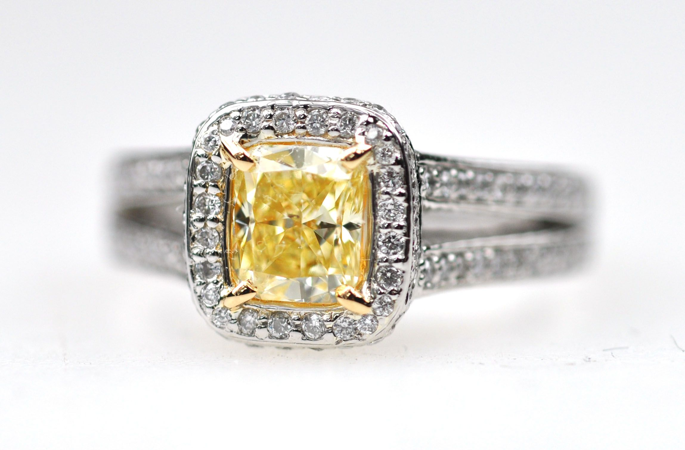 Pave diamond canary cushion cut ring lunessa favorite jewelry