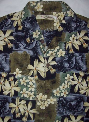 TOMMY BAHAMA Large L 100% Silk Aloha Hawaiian Hibiscus Floral Palm Camp Shirt