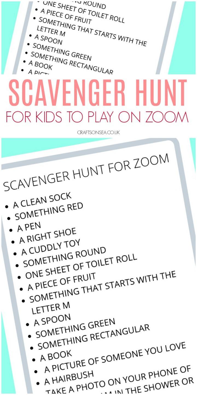 Scavenger Hunt for Zoom (FREE Printable for Kids