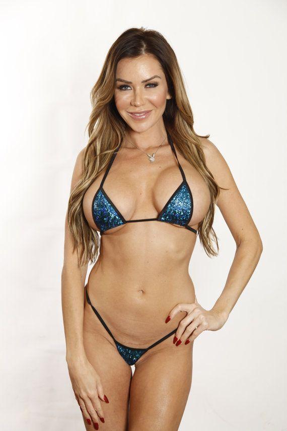 a08b1df2da5 Sparkly Blue Mermaid Sexy Micro G String Bikini 2pc Triangle Top Mini Thong  Minimal Coverage Exotic
