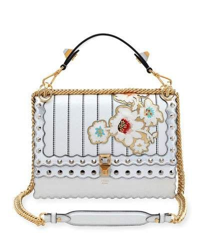 961fe4d0a6 FENDI Kan I Mini Floral-Embroidered Chain Shoulder Bag, White/Silver. #fendi  #bags #shoulder bags #hand bags #leather #