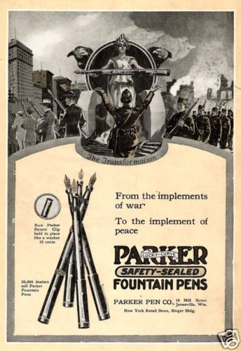 Parker Fountain Pens | 1919 ad for Parker Fountain Pens - Doughboys returning after WWI trading guns for pens.  Great ad concept; gave me chills.