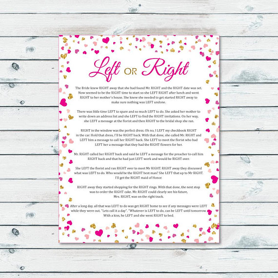 instant download left or right bridal shower game pass the prize bridal game pink and gold confetti bachelorette game bridal shower prize
