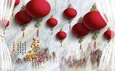 Mural 3D Wallpaper Red Lantern Stone Pattern Chinese Celebration Living Roo #fas ...#celebration #chinese #fas #lantern #living #mural #pattern #red #roo #stone #wallpaper