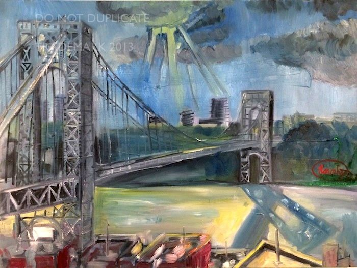 Navahjo Stoller Oil Paintings Hudson Heights George Washington Bridge Piantings Gwb Bridge Painting Original