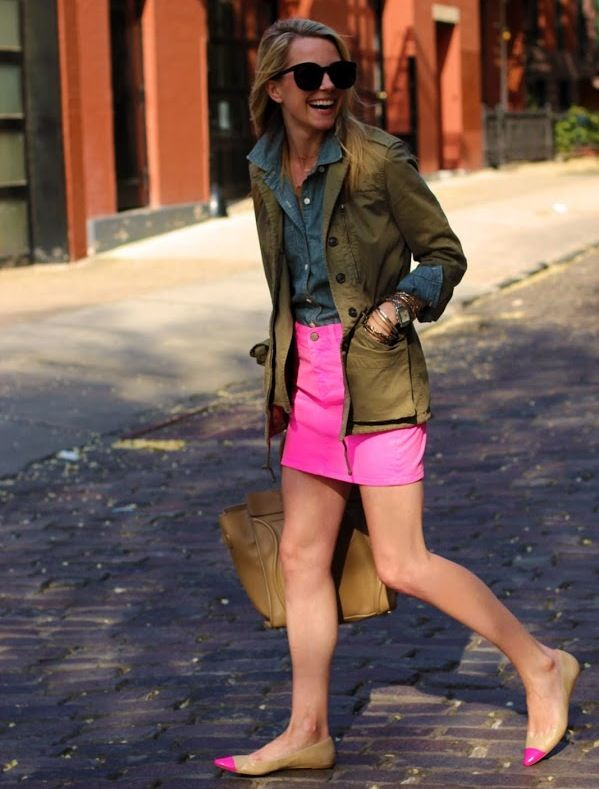 hot-pink-skirt-with-military-jacket