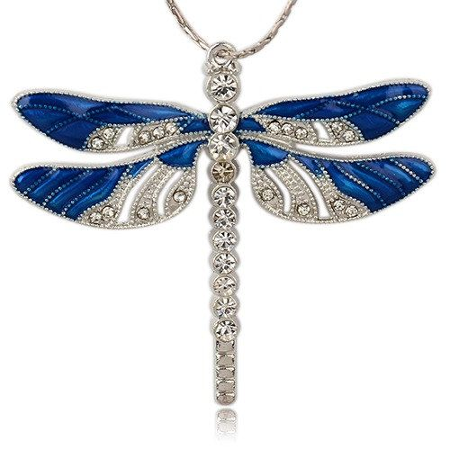Huge Blue Enameled Dragonfly Pendant with by TheBeadBandit on Etsy, $4.99