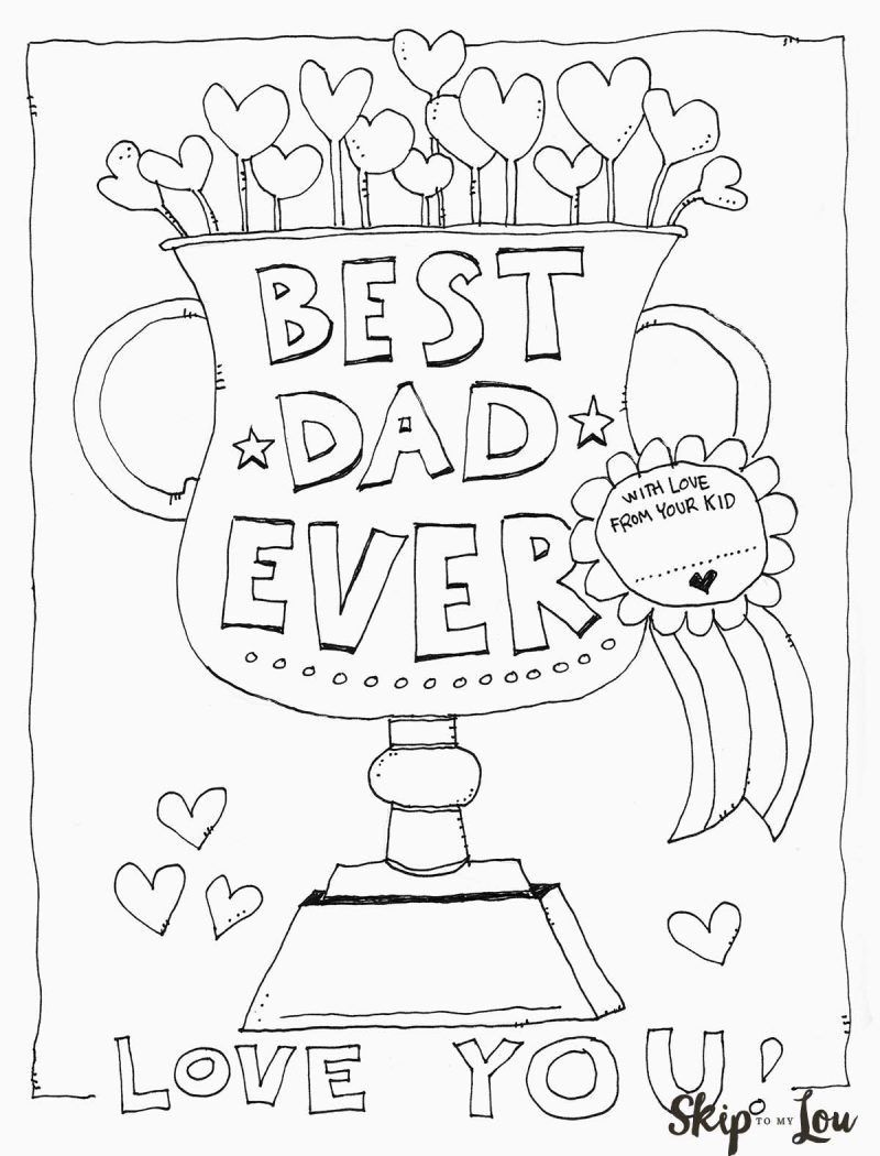 Dad Coloring Page for the BEST Dad Skip to my Lou Fathers Day