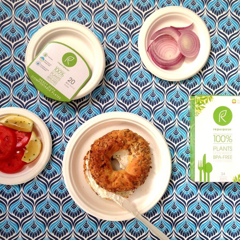 Bagels do better on Repurpose, the tableware that doesn't bend, break, or leak. Try Repurpose here http://www.repurposecompostables.com/find-us/#/map.
