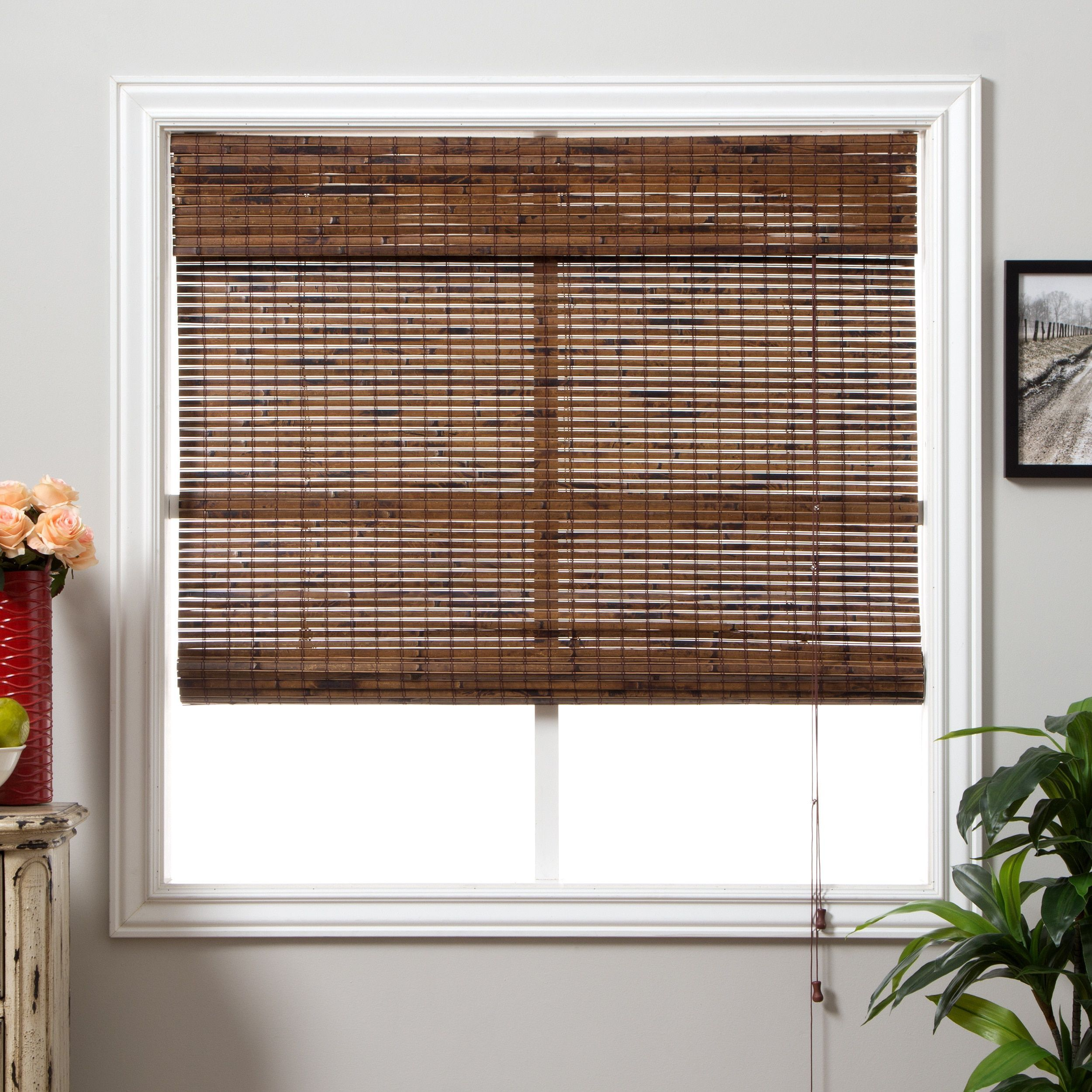 Arlo blinds java vintage bamboo green roman shade with inch