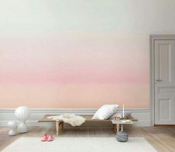 mur et papier peint tie and dye - blog deco | eux mêmes, Épurer et ... - Papier Peint Et Peinture Dans La Meme Piece