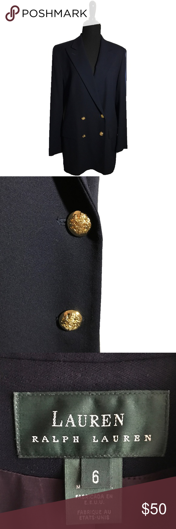 Ralph Lauren Preppy Navy Blazer Navy with gold buttons. Classic silhouette. Made in the USA Ralph Lauren Jackets & Coats Blazers