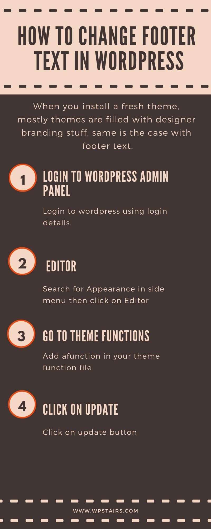 How to change footer text in wordpress Wordpress, Texts