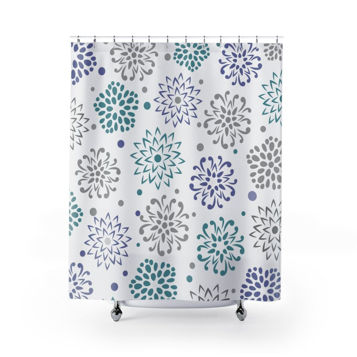 Liza Gray Teal And Periwinkle Decorative Burst Fabric Shower