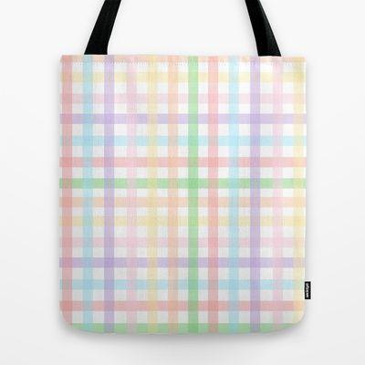 Pastel #gingham design #tote bag