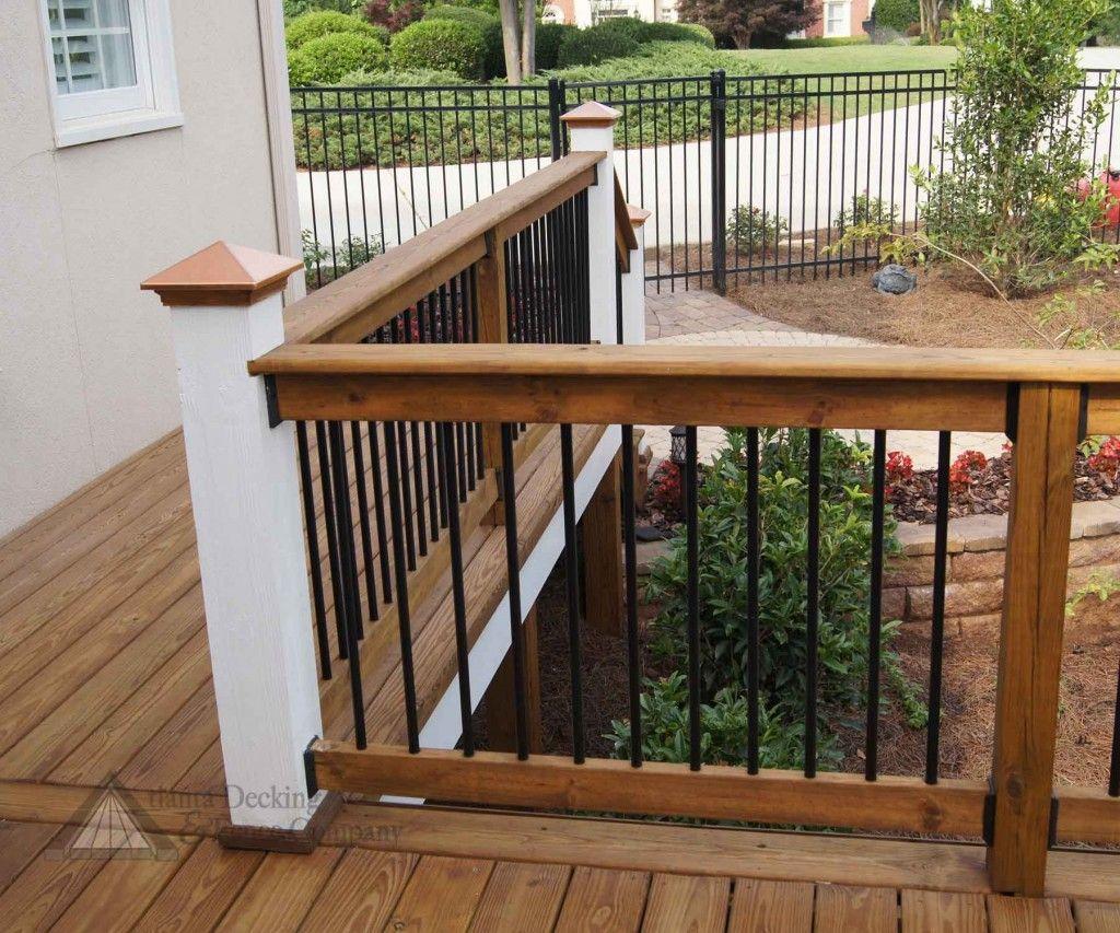 deck rails ideas Wood deck railing, Vinyl deck railing
