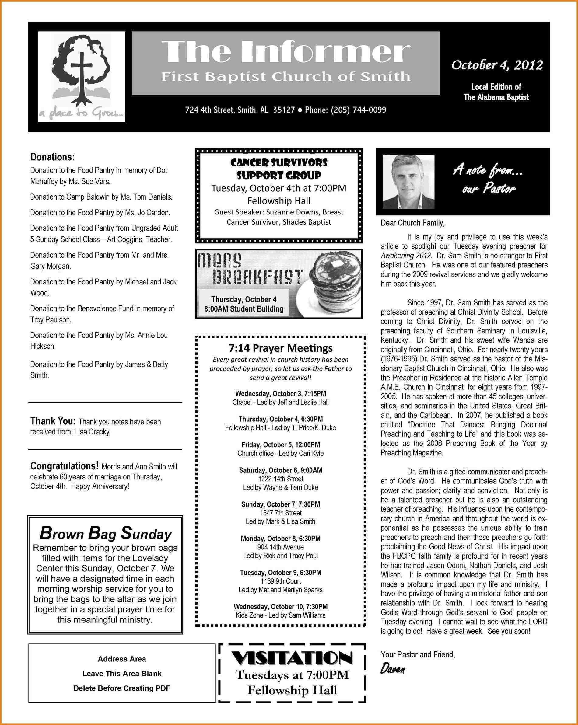 Church Newsletter Format Best Free Church Newsletter Templates For