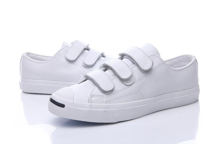 3a9e7f335fab White Converse Jack Purcell 3 Strap Velcro Leather Low Top Shoes  converse   shoes