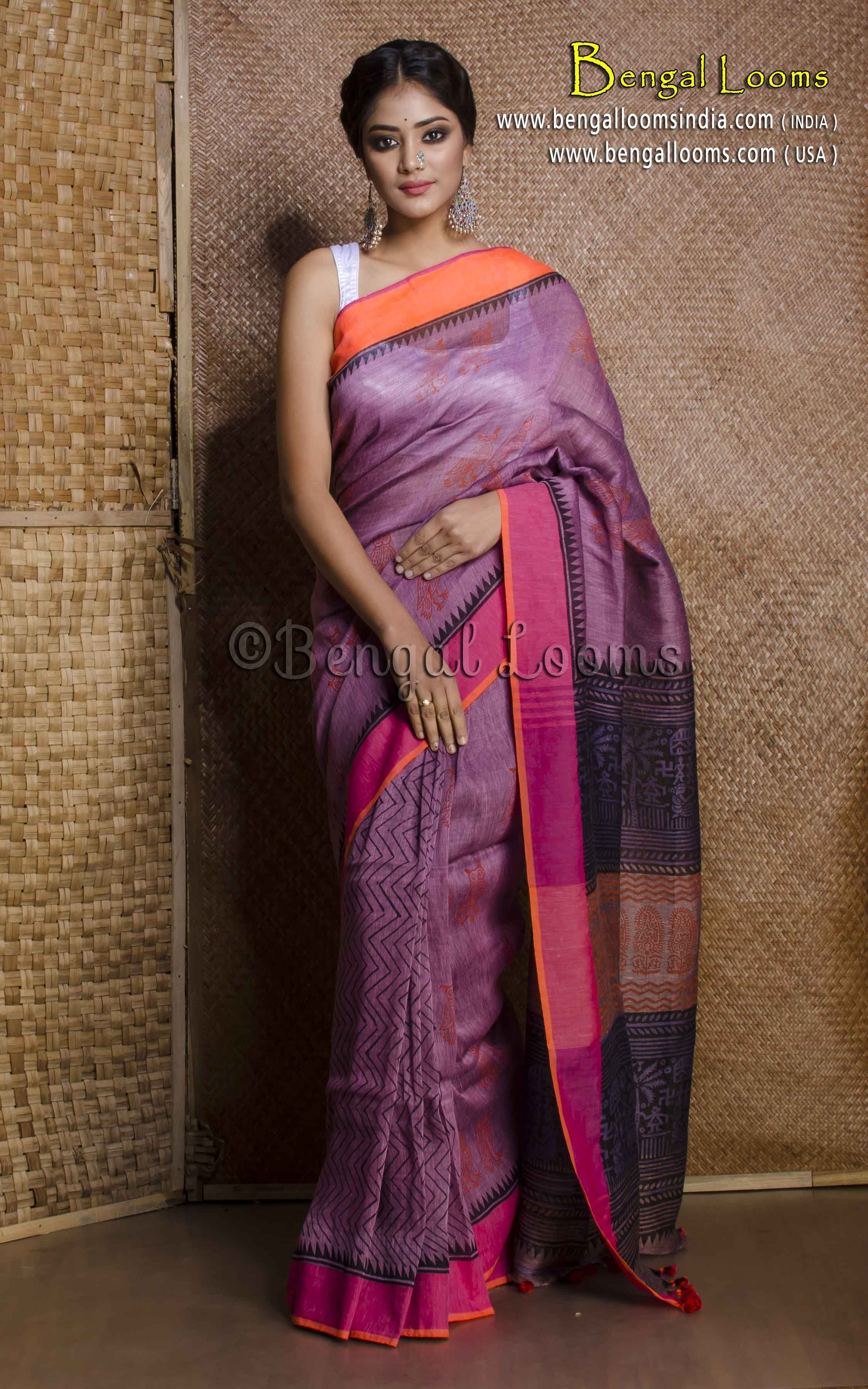 70fa24aeee96d Pure Handloom Linen Saree with Block Prints in Lavender