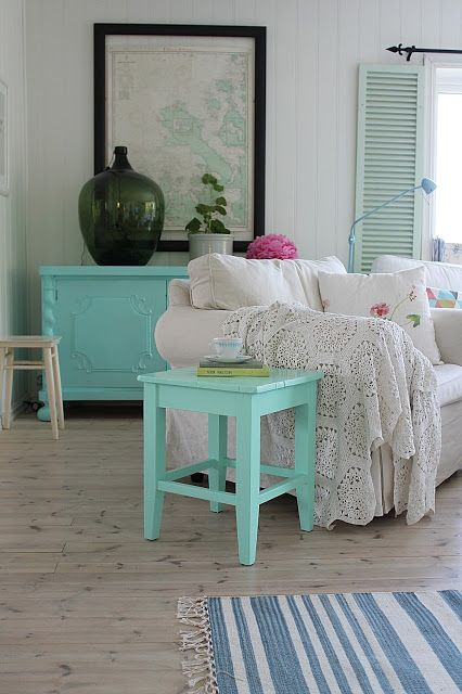 mint living room - verde menta en el salón