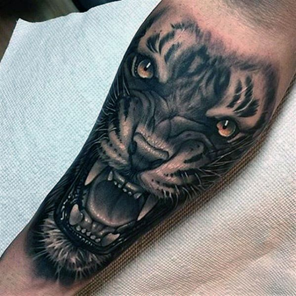 50 3d forearm tattoos for men three dimensional design ideas 3d tiger tattoo on finger. Black Bedroom Furniture Sets. Home Design Ideas