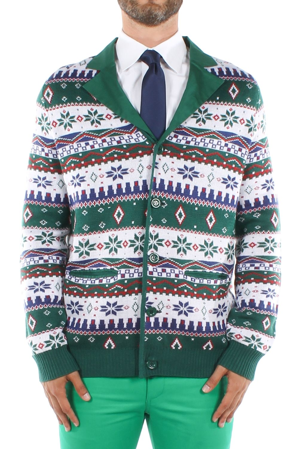 Men's Green Red and White Sweater Suit Jacket | Christmas parties ...