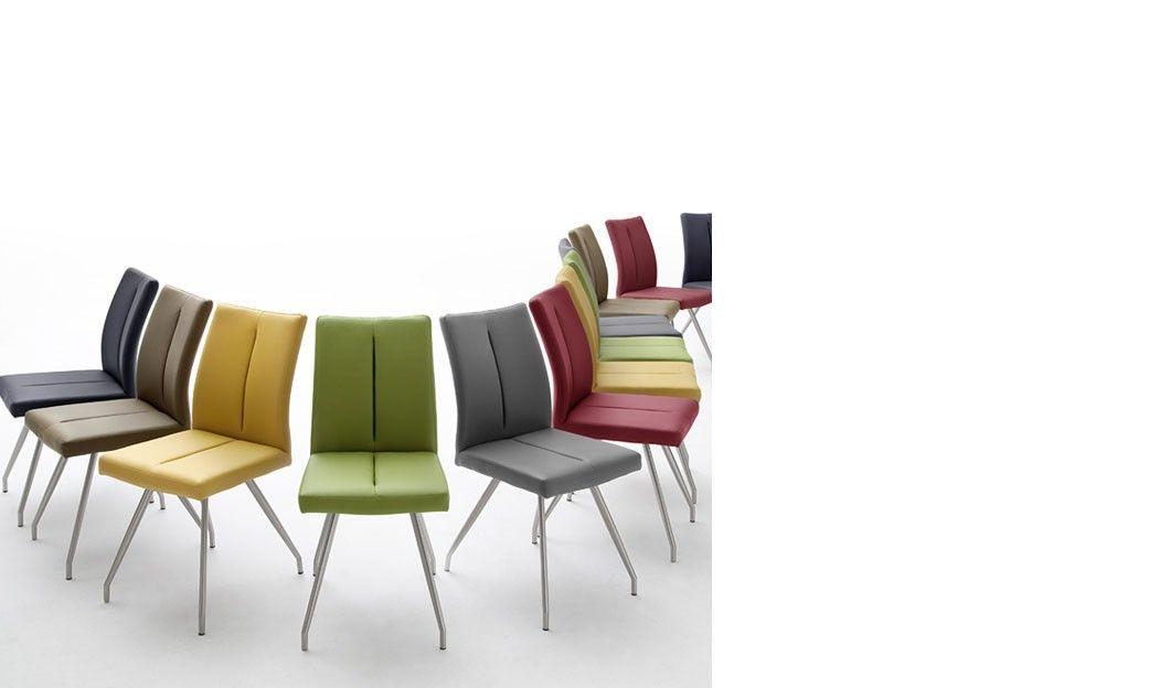 Chaise Jaune Design En PU Et Acier DELMAR
