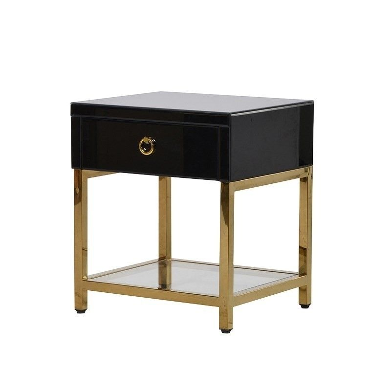Clearance Black Brass Night Stand Black Bedside Table Black