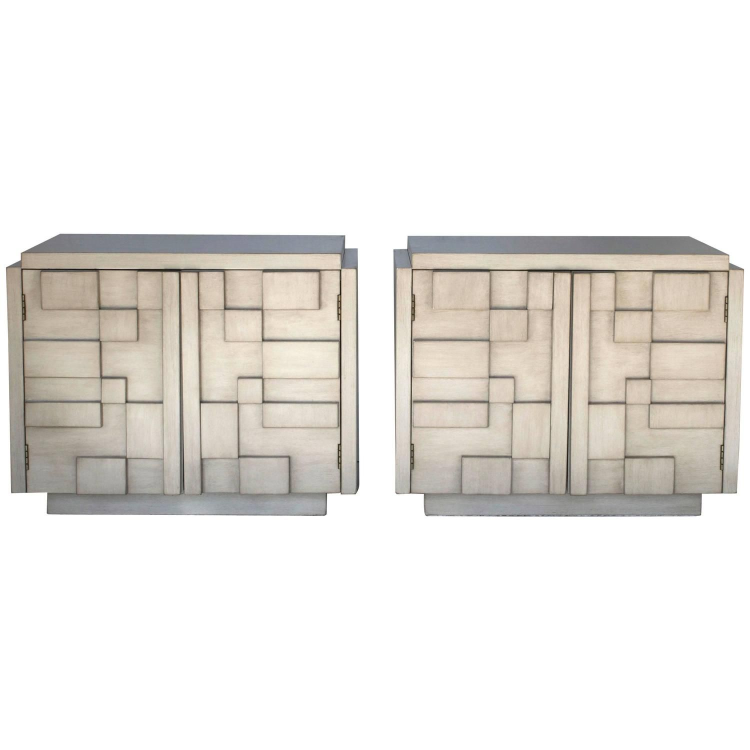 Pair Of Brutalist Lane Mosaic Nightstands In Driftwood Finish From A Unique Collection Of Antique An Lane