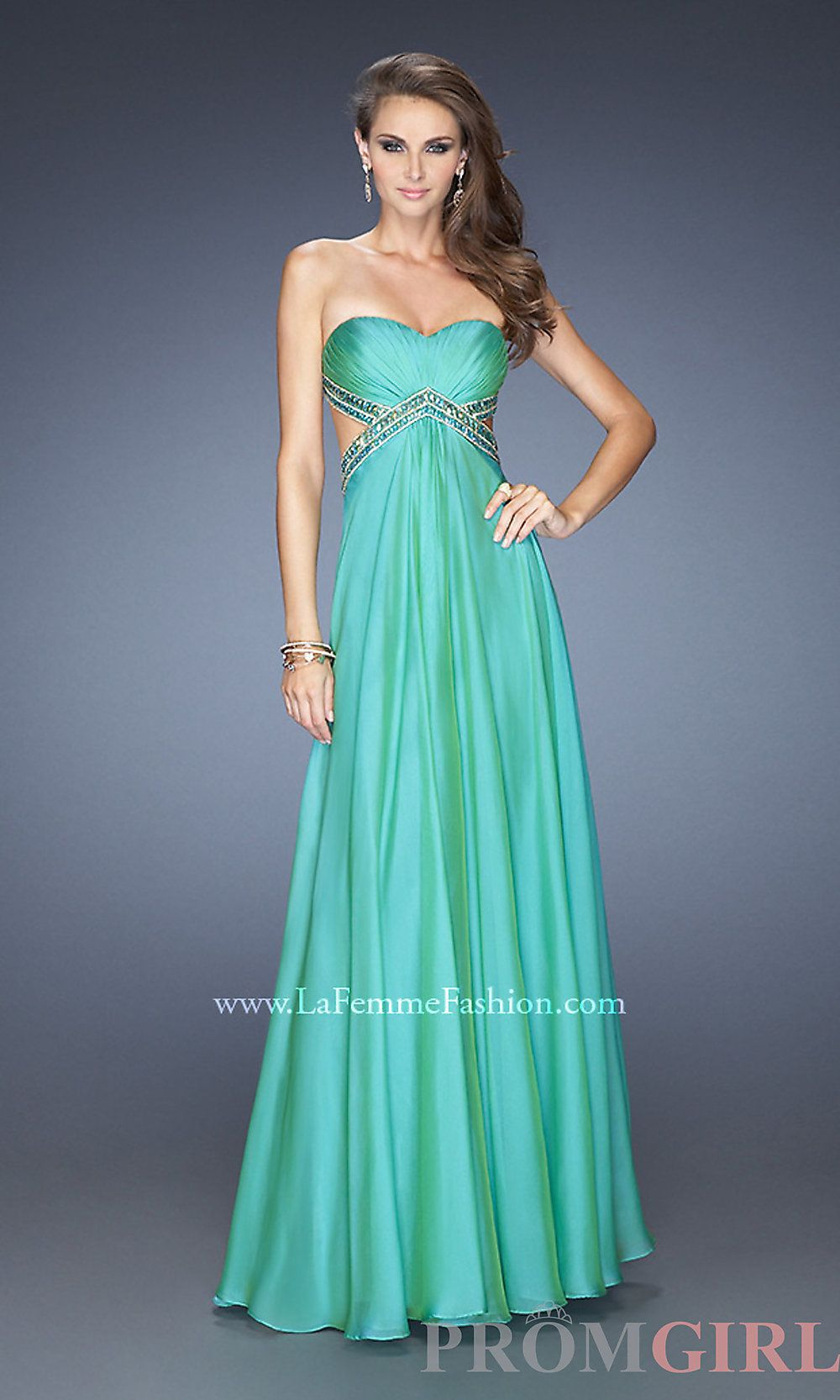 La Femme Sexy Long Open Back Gown with Side Cut Outs - #prom ...