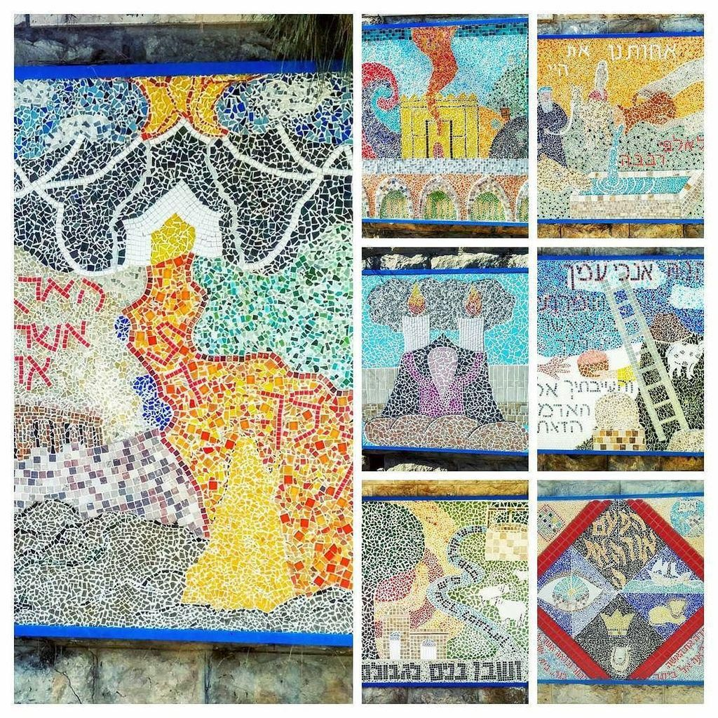 Series of mosaics displayed along the main road in Hebron, crested by the children of Hebr… http://illum.in/1KIbuiC