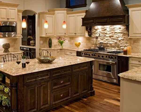 40 Rustic Kitchen Designs to Bring Country Life Contrast lighting