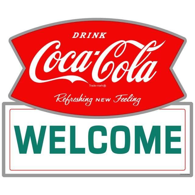 COCA COLA DOOR PUSH DECAL STICKER SIGN NOS SODA ADVERTISING COUNTRY STORE RARE