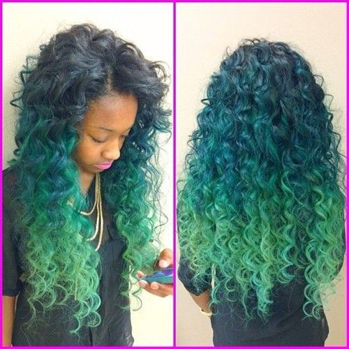 Diy turquoise ombre hair dye for curly weave hair girls creative diy turquoise ombre hair dye for curly weave hair girls creative blue green ombre hair pmusecretfo Choice Image
