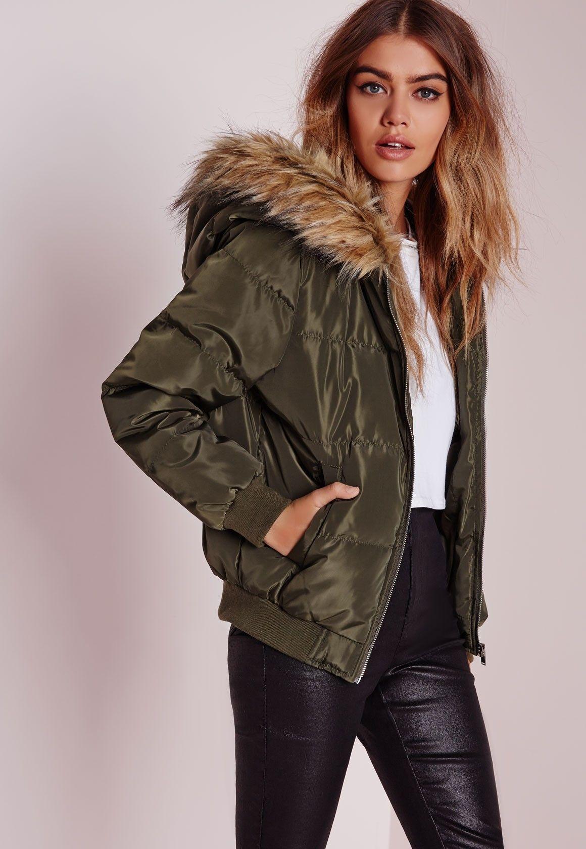 Missguided Padded Faux Fur Hood Jacket Khaki Faux fur