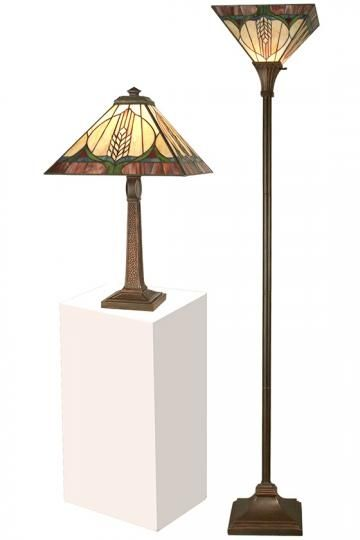 Tiffany Stanton Mission Table Lamp And Torchiere Set Art