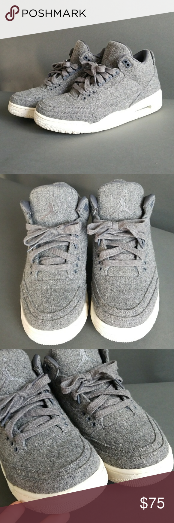 28bec3fc28aa AIR JORDAN 3 RETRO GOAT WOOL Men s 8 In excellent condition like new worn  few times. Perfect for weather like this wool sneakers Air Jordan Shoes