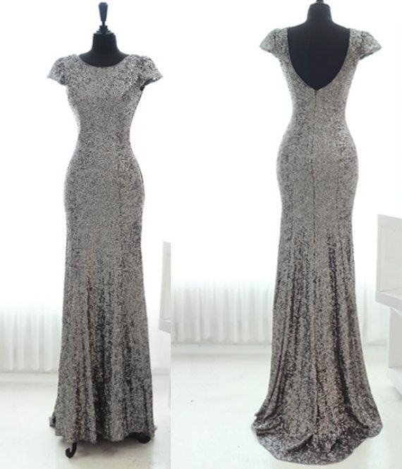 ac094b16880 Mermaid Cap Sleeves Backless Grey Sequins Long Prom Dress 2014 with Small  Train