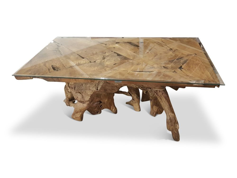 Large Teak Root Dining Table Glass Solid Wood Unique Wooden