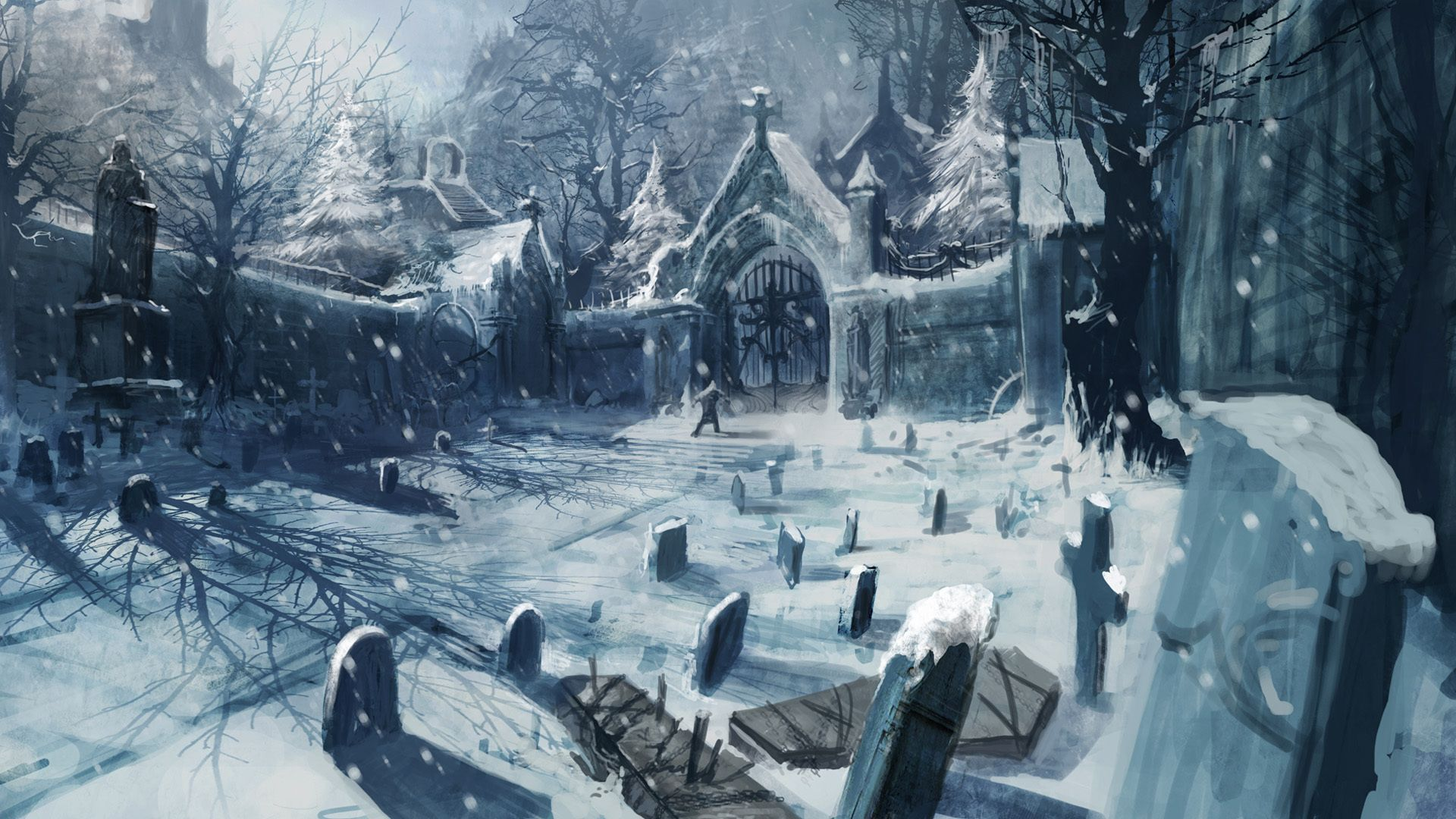 Castlevania Lords Of Shadow Wallpaper Fantasy Landscape Anime Scenery Winter Art