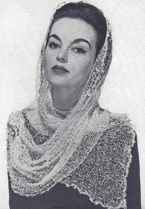 Vintage Knitting Pattern To Make Knitted Mantilla Shawl Fascinator
