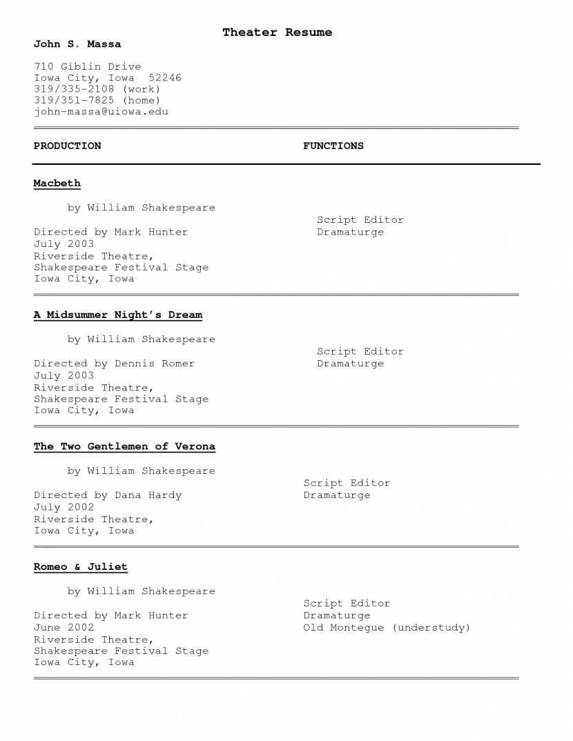 Sample Acting Resume Template Httpwww Resumecareer Info Theatre